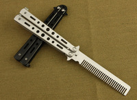 Metal Comb Knife Butterfly Sport Practice Balisong Tool Trainer Cool Sports Black Silver Color Comb Shape