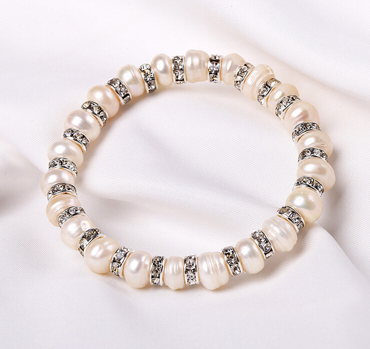 Free shipping The new 2014 Natural pearl Every crystal bracelet bracelets bangles