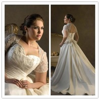 elegant short sleeve open back bride gown plus size dress vestido de noiva floor-length plus size Wedding dress 2014 NK-851