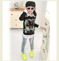 Freeshipping 2014 autumn new Korean version GIRLS' PANS,Children's long denim trousers printing Baggy jeans Girls'jeans