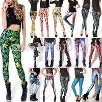 Wholesale Hot Sale 2 Size XL Peacock Tail Tetris Muscle Galaxy Print Leggins Pants Leggings Galaxy Space Jeggings Free Shipping