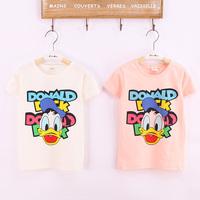 2014 new free shipping children unisex t-shirt baby kids short sleeve shirts cartoon duck pattern girls boy clothing size 2-13