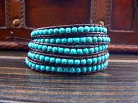 5 Wraps Turquoise  Strand Wrap Beaded Bracelet