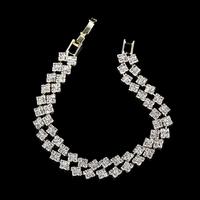 2014 Summer Hot Silver Plated Rhinestone Bracelet, Gold Wave Crystal Bracelet, 2 Rows Statement Bracelets For Girlfriend Gift