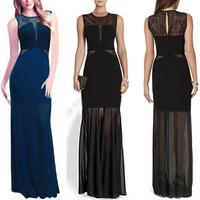 Black and Blue Colour High Quality Ladies HL Bandage Dress Lace Sleeveless Long Length Dress Evening Party Dress Wholesale