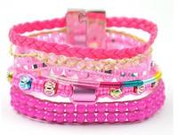 Hot Sale Colorful Beaded Women Handmade Fashion Brazil Style Hipanema Bracelets. Pink Fashion Girls Jewelry Accessories
