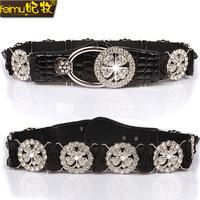 Feimu women's fashion belt elastic diamond wide cummerbund elastic ol luxury decoration strap accessories