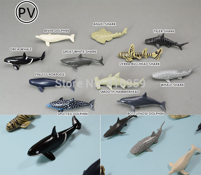 PVC small sea animals shark and whale model cognitive ocean world toys for children or ornament 11pieces/set wholesale(China (Mainland))