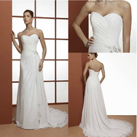 Plus Size Wedding Dresse Sweetheart Chiffon Sweep Train Elegant Backless Bridal gown Custom Size 2-4-6-8-10-12-14-16-18 D-8065