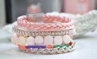 Wholesale Beautiful Ladies Fashion Lovely Pink Tone Rhinestone Handmade Best Friend's Bracelets. Hot Sale Bohemian Style Jewelry