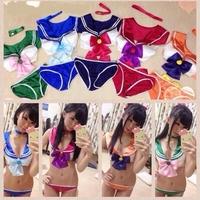New 2014 Women Girls Adults Sexy Anime Sailor Moon/Mercury/Mars/Jupiter/Venus Underwear Bow Bra Set Cosplay Bra&Panty Costume