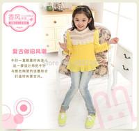 Freeshipping 2014 autumn new Korean version Girls jeans Children's long denim trousers Children Leisure pencil pants