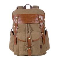 KAUKKO YP213 Canvas Men Women Backpack Rucksack School Travel Bag - Dark Kahki