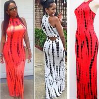 2-colors 2014 New Women casual O-neck off the shoulder print long dress beachwear one piece maxi dress YQ069