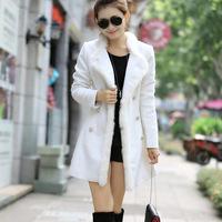 Autumn and winter Korean explosion dresses slim female fur collar wool coat of long double breasted coat