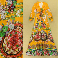 Europe Runway 2014 Autumn Fashion Dress Women's Long Sleeves V Neck With Sashes Colorful Flower Printed Floor Length Boho Dress