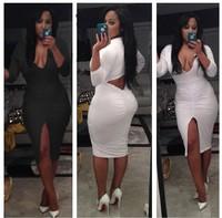 Top Selling Sexy Deep V-neck Women Dresses Draped Split Bodycon Dress Night Club Party Pencil Dress 4073