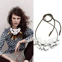 New Fashion Jewelry Vintage Handmade White Flowers Leather Statement Choker Bib Necklace Women