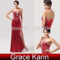 New Designer Grace Karin Strapless Women Sexy Deep V Neck Bodycon Red Evening Dress Long Sequins CL6102