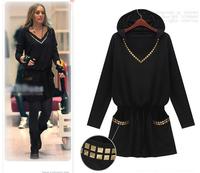 Winter Dress Pullover M-XXXXL New Fashion 2014 Women Casual Dress Blouse Spring Autumn Sexy Loose Plus Size Dress Black   #C0854