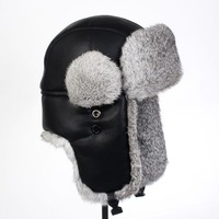 100% rabbit fur and High-quality Faux Leather russian hat warm hat with free shipping