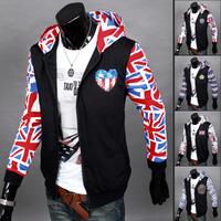 Hot Sale 2014 New Fashion Man Hoody,Casual Slim with a hood sweatshirt ,Autumn Men's splicing jacket coat free shipping