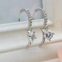 2014 New Fashion Crystal Hoop Hook Earrings18K Gold / Silver Plated  Women Jewelry free shipping cheap earing 25MHM304#S5