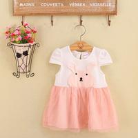 Free Shipping 2014 Summer New girls dress rabbit princess Children lace dress kids noble fairy dress Sleeveless high quality