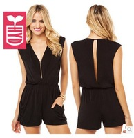 Export brand 2014 Summer High quality deep V neck jumpsuits Womens racerback pockets Short shorts,Rompers black