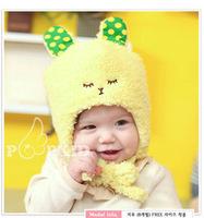2014 Children Girls Caps Plus Velvet Thickening Cute Hats For Baby Fashion Rabbit Hats With Ears Winter Warm Fleece Beanie Cap