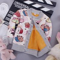 Cake Style Single Breasted Wool Liner Keep Warm Baby Kid Sweatercoat Cashmere Sweater Children Wear Sweatercoat {iso-14-8-12-A9}