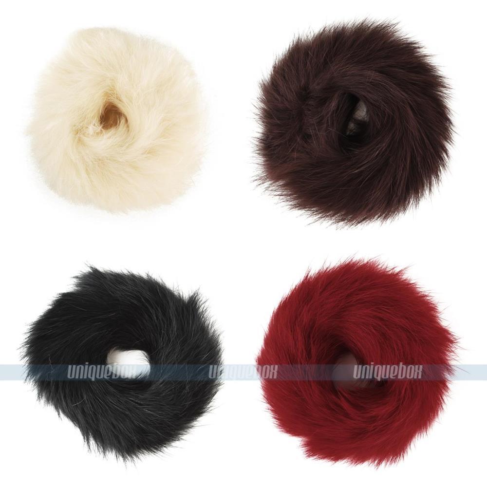 4pcs/lot Real Genuine Rabbit Fur Hair Band Elastic Hair Bobble Pony Tail Holder(China (Mainland))