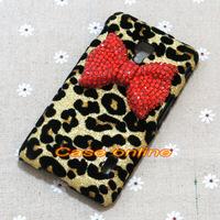 1 Pcs Fashion Bling Rhinestone Bow Hard Back Leopard Case Cover For LG Optimus F6 D500 D505