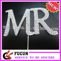"""(50 pieces/lot) Romantic Sparkling """"MR""""shape silver wedding cake topper for sale,Free Shipping"""