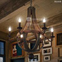 6 Lights Retro Wooden Chandelier Vintage Lamp Fixture