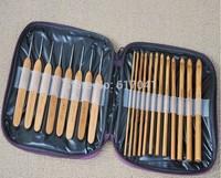 10 bags 10 lots  hot sales bamboo needlework 20pcs Carbonize Bamboo Crochet Hooks Knitting Needles Craft With Purple Case 25