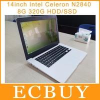 high configuration 14 inch Ultrabook Laptop Intel Celeron N2840 2.16Ghz Dual Core netbook 8G RAM 320GB Windows 8 HDD support SSD