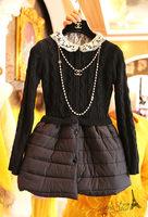 Free shipping 2014 autumn new women fashion knitting patchwork dress,girl peter-pan collar long sleeves ball-gown dress