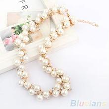 Women s Fashion Shiny Alloy Golden Rhinestone Faux Pearl Beads Necklace Jewelry 1OM3