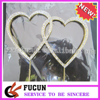 (50 pieces/lot) Romantic shining double heart shape golcake topper for wedding,Free Shipping