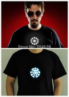 Iron Man Light up LED T Shirt O-neck Collar Tee  Short Sleeve Top 100% Cotton Sound Activated Tony Stark Blacks