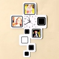 gz059 Free shopping 1pcs Wooden photo frame clocks Fashion contracted Europe type clock living room quiet creative wall clock