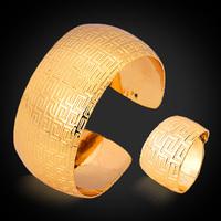 New Vintage G Pattern 18K Gold Plated Romantic Wedding Bracelet Ring Set Fashion Wedding Jewelry Set For Women MGC HR309