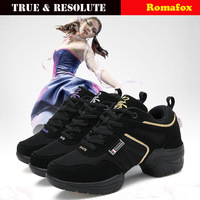Mezlito Women Dance Shoes Height Increasing Latin Shoes Jazz Shoe Fashion Breathable Thick Air Cushion Grid Surface Sneakers
