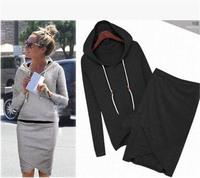 2014 Women Sport Suit Casual Tracksuits 2pcs/set Cotton Hoodies Irregular Skirts Long-sleeve Sweatshirt Female Clothing Sets2416