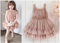 Wholesale 2-6Y  Chiffon Ruffles Summer Girls Cake Shoulder-straps Dress  Baby  Clothing 5pcs/lot Free Shipping