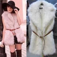 2014 NEW Women Lady Autumn Winter Fashion Warm Faux Fur Long Vest Sleeveless Turn-down Collar Jacket Coat Waistcoat Plus Size
