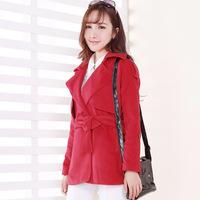 New Korean woolen coat red Nezi coat