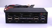 "5.25""PC Media Dashboard Multi-Function Front Panel 2-Port USB 3.0 +6-Port + USB2.0 All In 1 Card Reader + eSATA+ SATA+Auido Port"