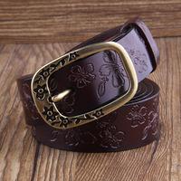 Women's genuine leather pin buckle strap cowhide belt casual vintage embossed belt pants belt